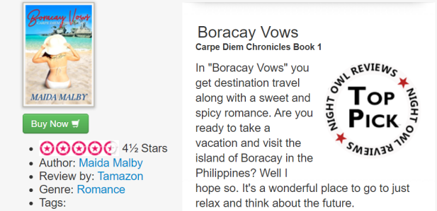 "In ""Boracay Vows"" you get destination travel along with a sweet and spicy romance. Are you ready to take a vacation and visit the island of Boracay in the Philippines? Well I hope so. It's a wonderful place to go to just relax and think about the future."